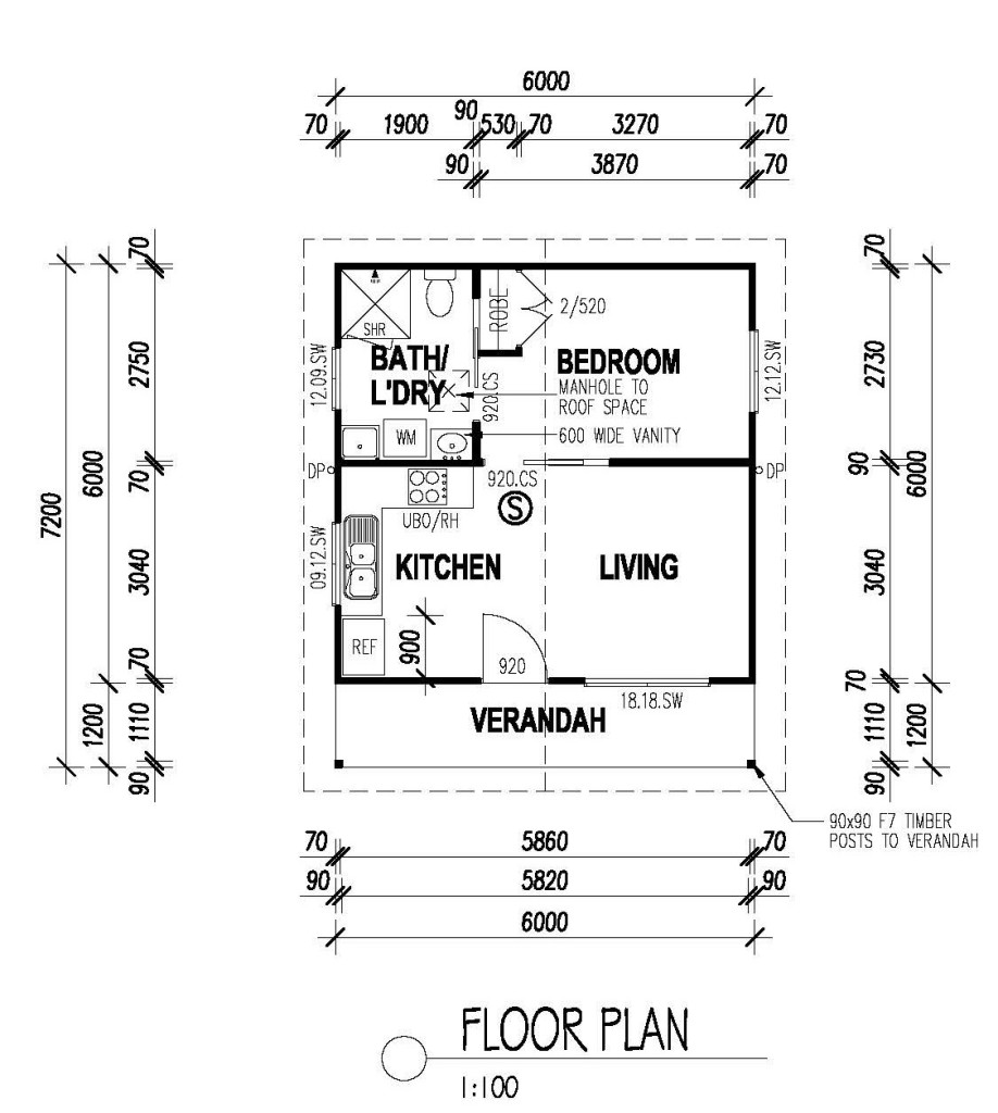 The retreat one bedroom option all granny flats for Plan of a flat