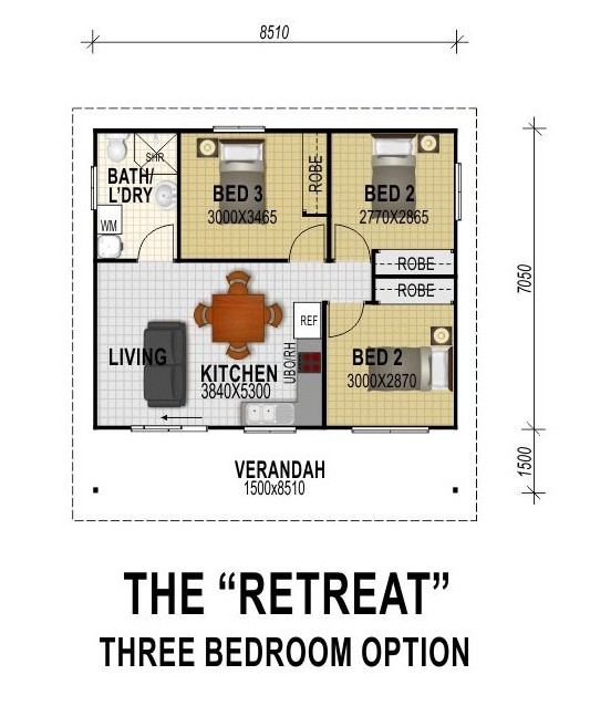 The retreat three bedroom option all granny flats for Three bedroom flat plan